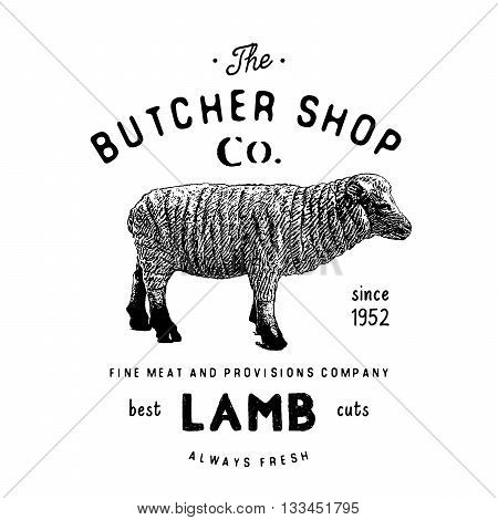 Butcher Shop Vintage Emblem Lamb Meat Products, Butchery Logo Template Retro Style. Vintage Design F