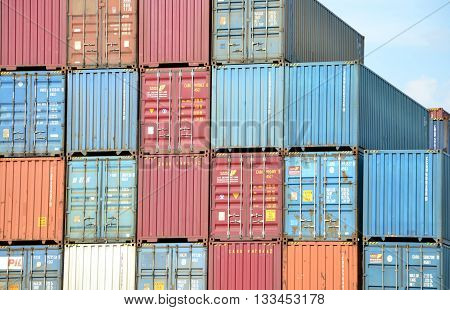 Zilina, Slovakia - June 4, 2016: Cargo container stacks in Inland container terminal