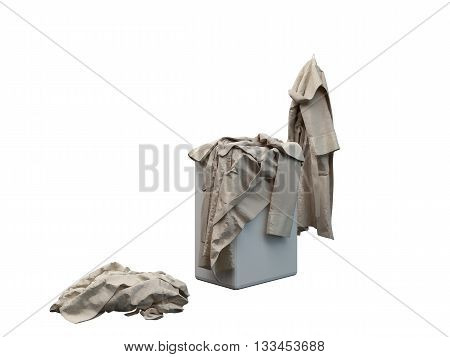 3D rendering of a bathrobe isolated on white background