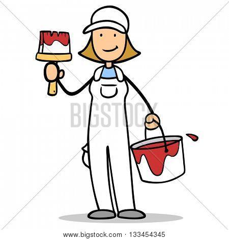 Cartoon woman as female painter holding a paintbrush