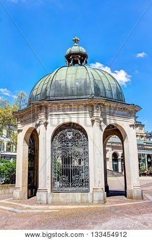 Historic Boil Fountain In Wiesbaden