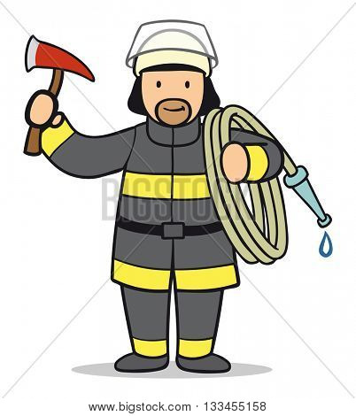 Funny professional cartoon firefighter with axe and hose