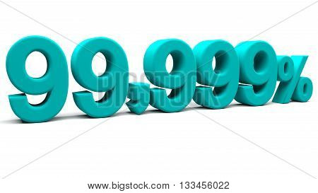 Ninety nine point nine hundred and ninety nine percents 3D text with big fonts isolated on white background. 3D rendering.