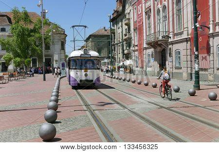 Vintage Tram Car In Timisoara, Romania