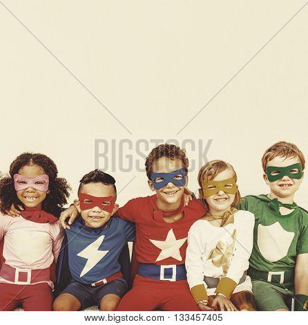 Superhero Kids Power Fun Enjoyment Concept