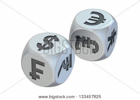 Currency exchange concept dices with currencies. 3D rendering
