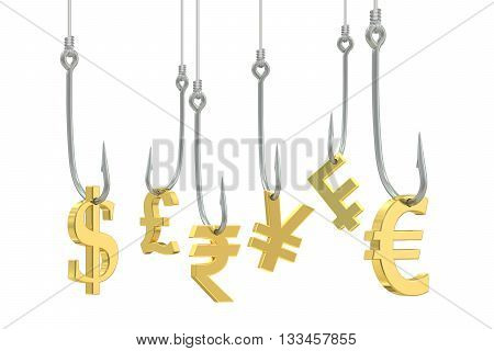 fishing hooks with symbols of dollar euro pound sterling franc yen and rupee 3D rendering