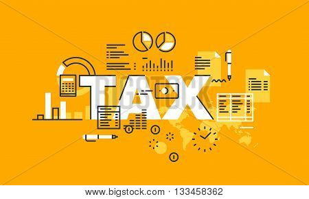 Thin line flat design banner for TAX web page, tax law, banking, taxes information and news, services. Modern vector illustration concept of word TAX for website and mobile website banners.