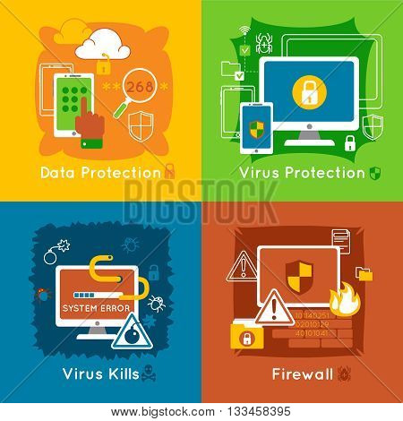 Data protection flat icon set with descriptions of virus protection virus kills and firewall vector illustration