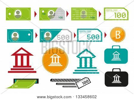 Changing Paper Cash into Digital Currency to transact business. Editable Clip Art.