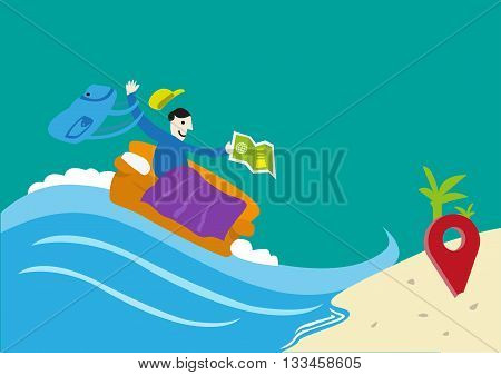 Travel on a Budget or Couchsurfing concept. A traveler on a couch arrives in a location he wishes. Editable Clip Art.