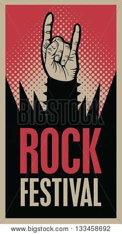 Hand in rock n roll sign and an inscription rock festival