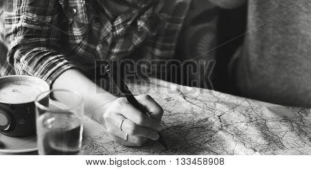Map Destination Adventure Route Remote Trip Concept
