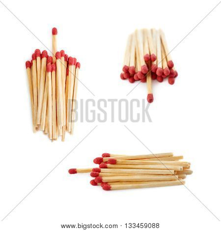 Set of Pile of Wooden unused matches isolated over the white background, as chosen one concept