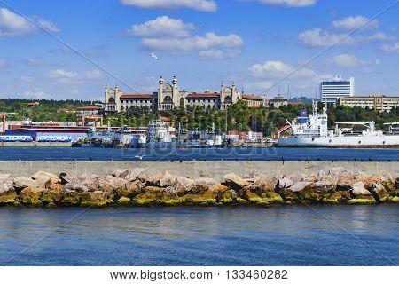 Istanbul Turkey - September 9 2012: Haydarpasa port and Marmara University Haydarpasa campus in the background
