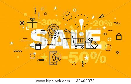 Thin line flat design banner for SALE web page, shopping, e-commerce, discounts and clearance sale. Modern vector illustration concept of word SALE for website and mobile website banners.