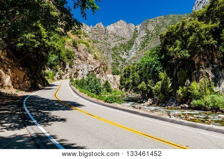 Kings Canyon Scenic Byway Highway 180 Kings Canyon National Park Southern Sierra Nevada California USA.
