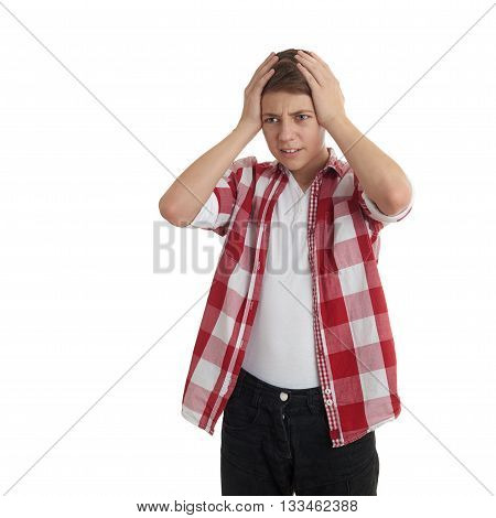 Cute teenager boy in red checkered shirt with hands over head over white isolated background, half body