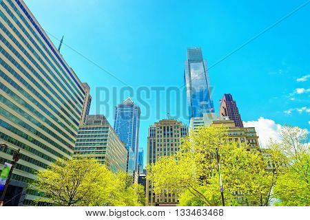 Penn Center And Skyline With Skyscrapers Of Philadelphia