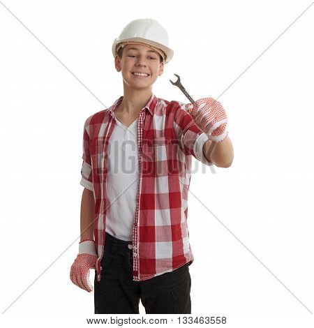 Cute teenager boy in red checkered shirt, building helmet and wrench over white isolated background, half body, constructing concept