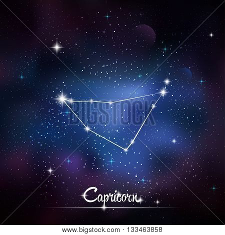 Zodiacal constellation Capricorn. Galaxy background with sparkling stars. Vector illustration