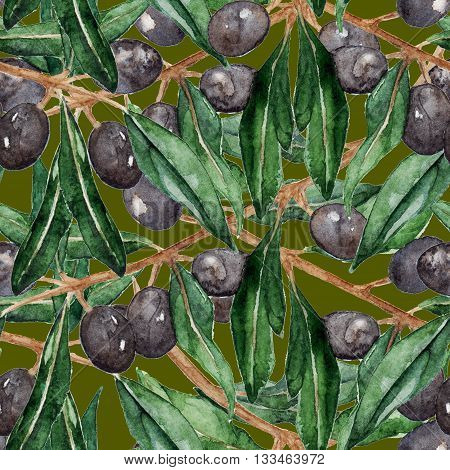 Olive oliva branches seamless pattern texture background