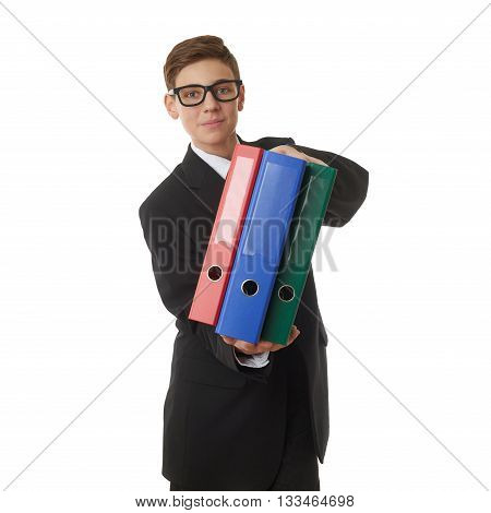 Cute teenager boy in back business suit with a pile of folders over white isolated background, half body, future career concept