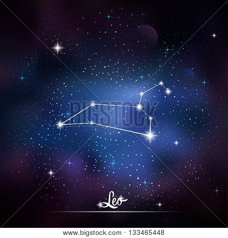 Zodiacal constellation Leo. Galaxy background with sparkling stars. Vector illustration