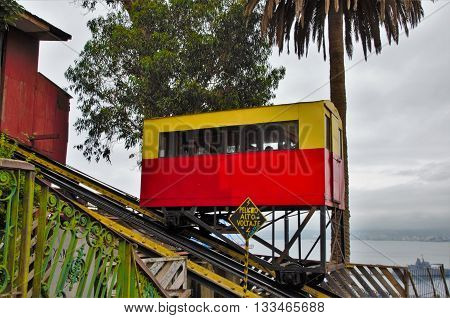 Close up of the Artilleria ascensor, lift in Valparaiso in Chile