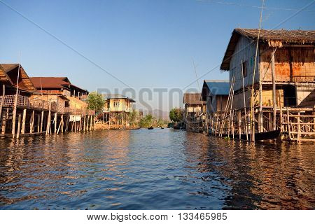 Floating houses over the water in Inle Lake Myanmar