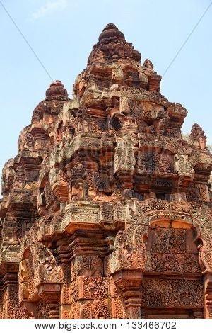 Banteay Srei - 10th century Cambodian temple. Close up