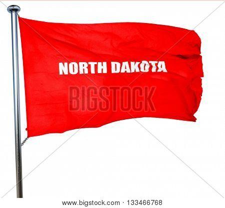 north dakota, 3D rendering, a red waving flag