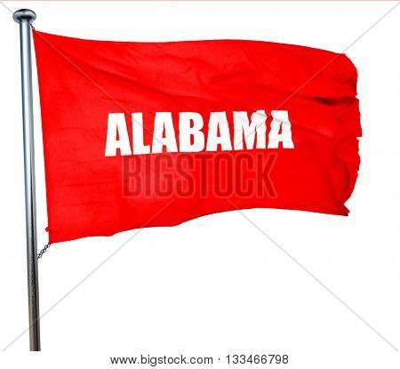 alabama, 3D rendering, a red waving flag