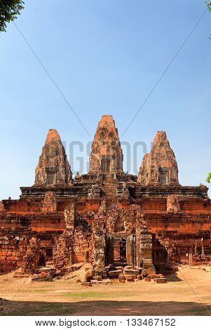 Front view of Angkor wat temple in Cambodia
