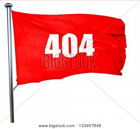 404 page, 3D rendering, a red waving flag