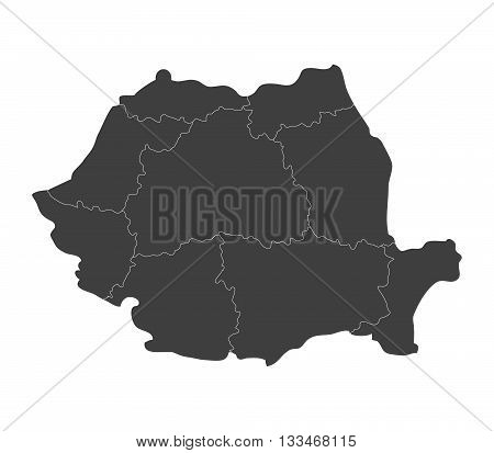 map of romania with regions illustrated on a white background