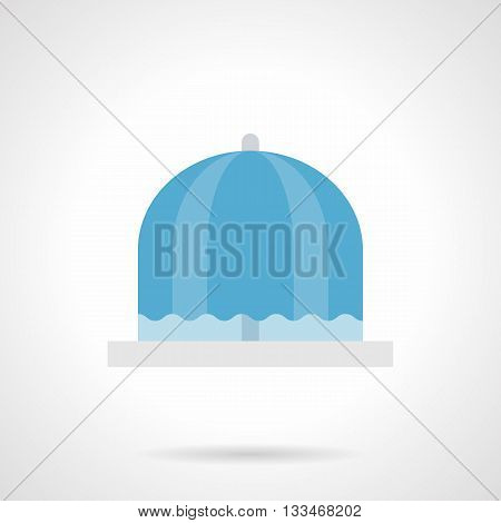 Flowing blue fresh water fountain. Object of place for city rest. Decoration elements for park, garden and other urban public places. Flat color style vector icon.