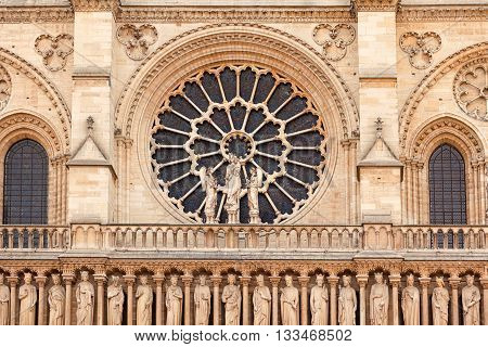 Details of Notre Dame cathedral in Paris France