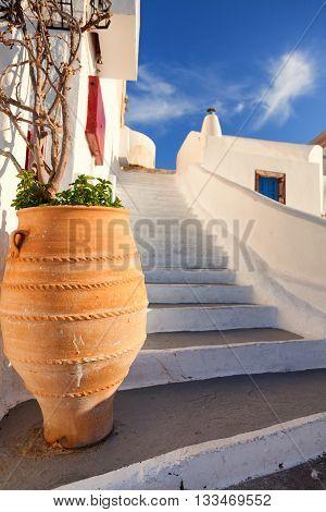 Narrow stairs and big vase in Oia Santorini. Shot at sunrise.