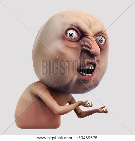 Internet meme Why You No. Rage face 3d illustration isolated