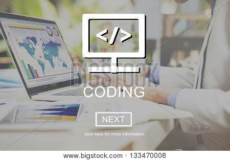 Algorithm Coding Programming CSS Online Website Concept