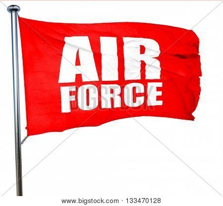 air force, 3D rendering, a red waving flag