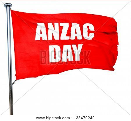 anzac day, 3D rendering, a red waving flag