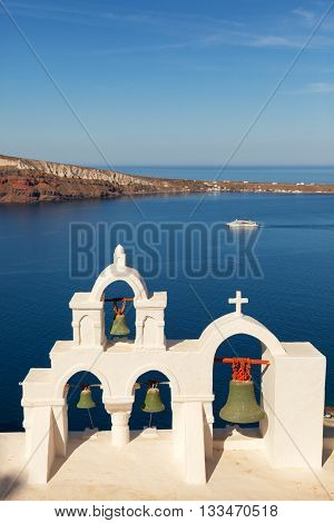 Famous church in Oia Santorini looking at the sea