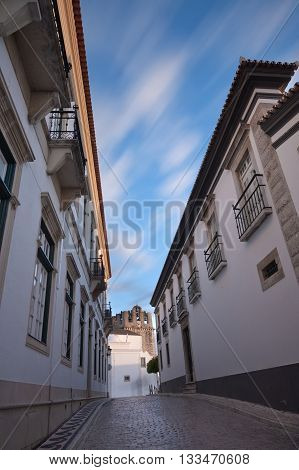 The streets of the old town of Faro. Stone road.