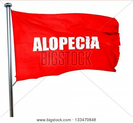 alopecia, 3D rendering, a red waving flag