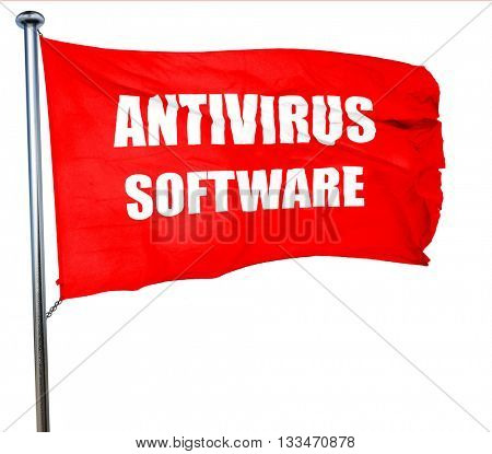 Malware computer background, 3D rendering, a red waving flag