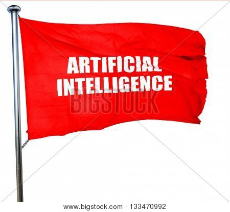 artificial intelligence, 3D rendering, a red waving flag