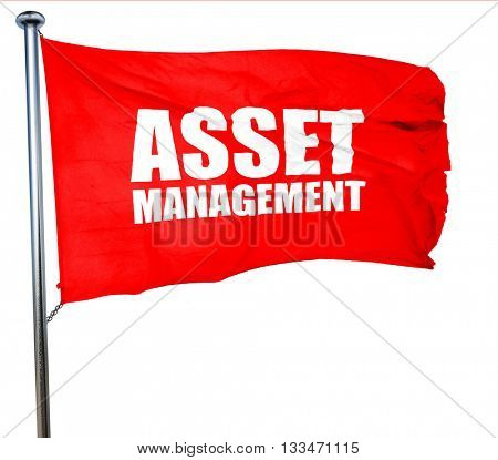 asset management, 3D rendering, a red waving flag