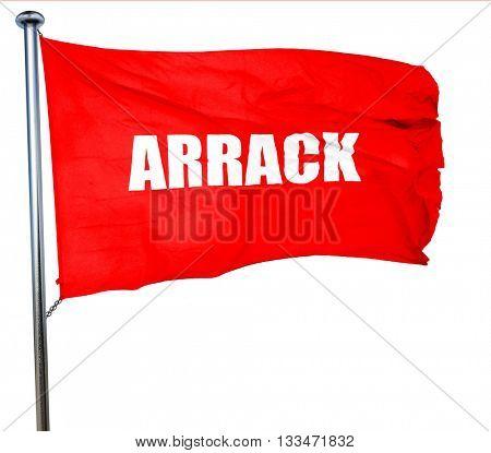 arrack, 3D rendering, a red waving flag